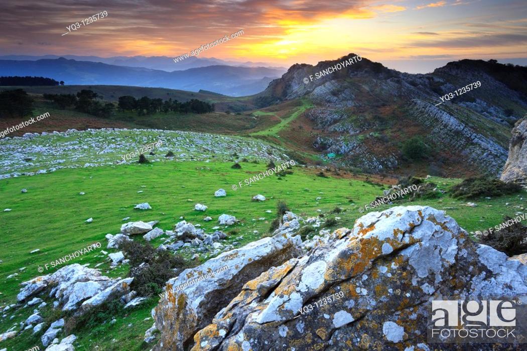 Stock Photo: Mount Cerredo in the evening, Castro Urdiales, Cantabria, Spain.