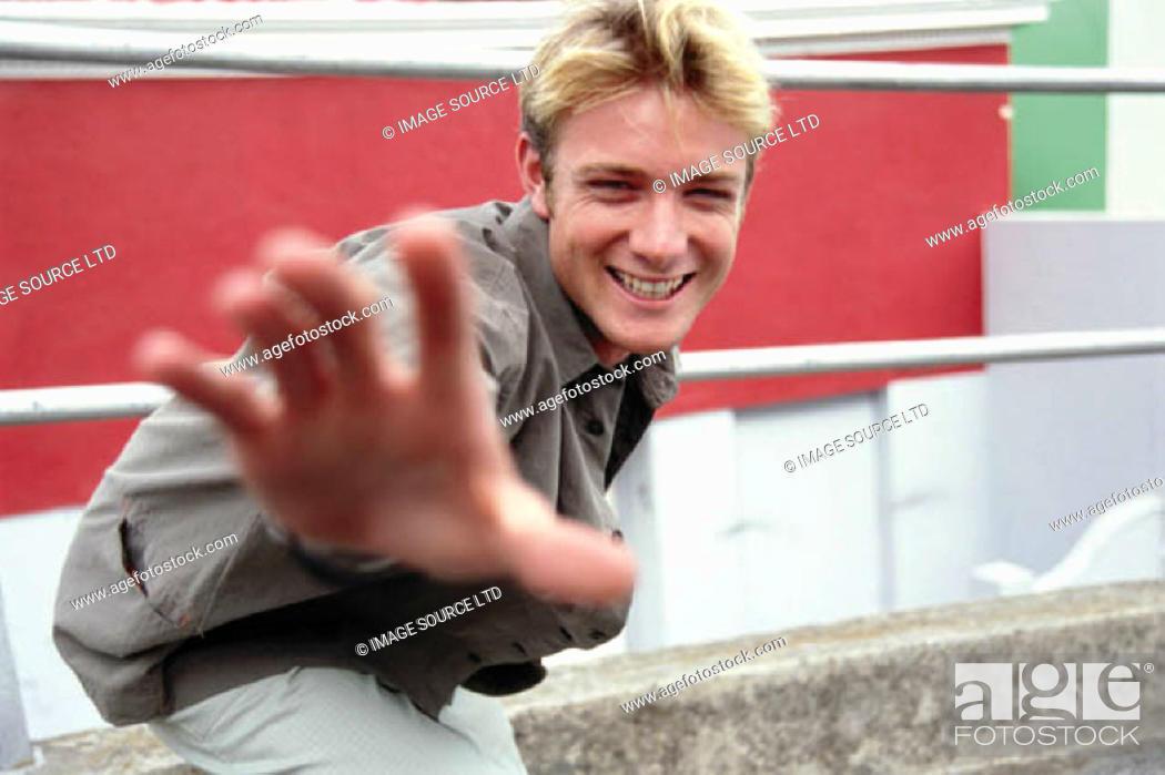 Stock Photo: Man laughing.