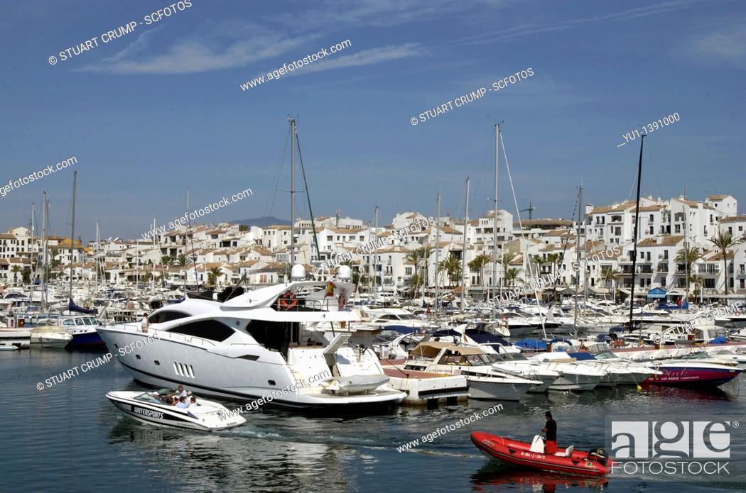 Stock Photo: Boats moored in Puerto Banus Marina, Andalucia, Costa Del Sol, Spain, Europe.