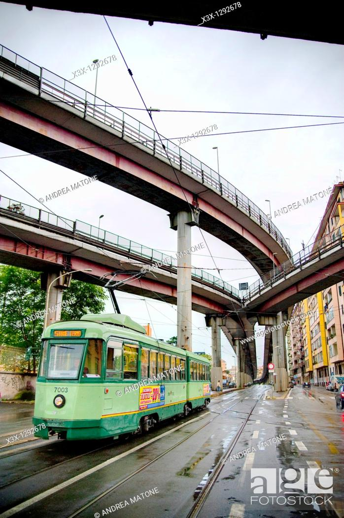 Stock Photo: Via Prenestina with a trolley car underneath highway Tangenziale Est in Rome Italy.