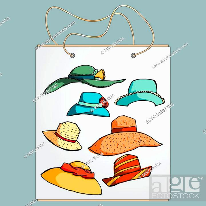 Stock Vector: Shopping bag, gift bag with the image of fashionable things. Fashion set of summer hats. Illustration in hand drawing style.