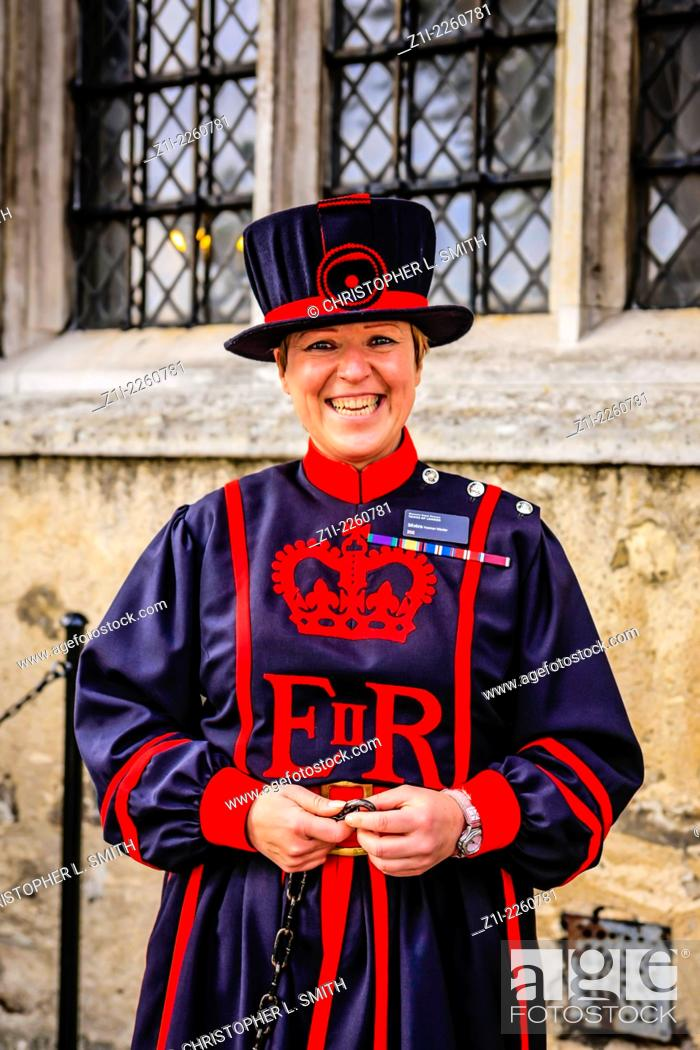 Stock Photo: Female Beefeater at the Tower of London.