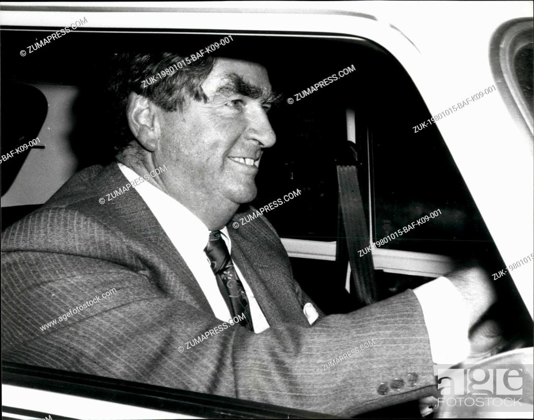 Stock Photo: Oct. 15, 1980 - October 15th 1980 Mr. Denis Healey arrives at the Commons ?¢'Ǩ'Äú With Mr. Jim Callaghan stepping down as leader of the Labour Party today, Mr.