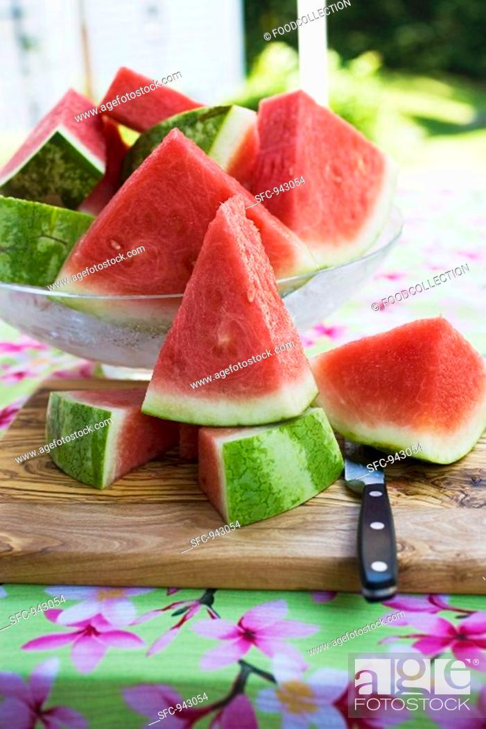 Stock Photo: Many pieces of watermelon in a glass bowl.