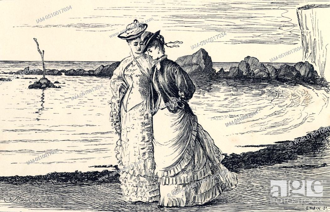 Ladies Walking On A Beach Illustration For The Hand Of Ethelberta