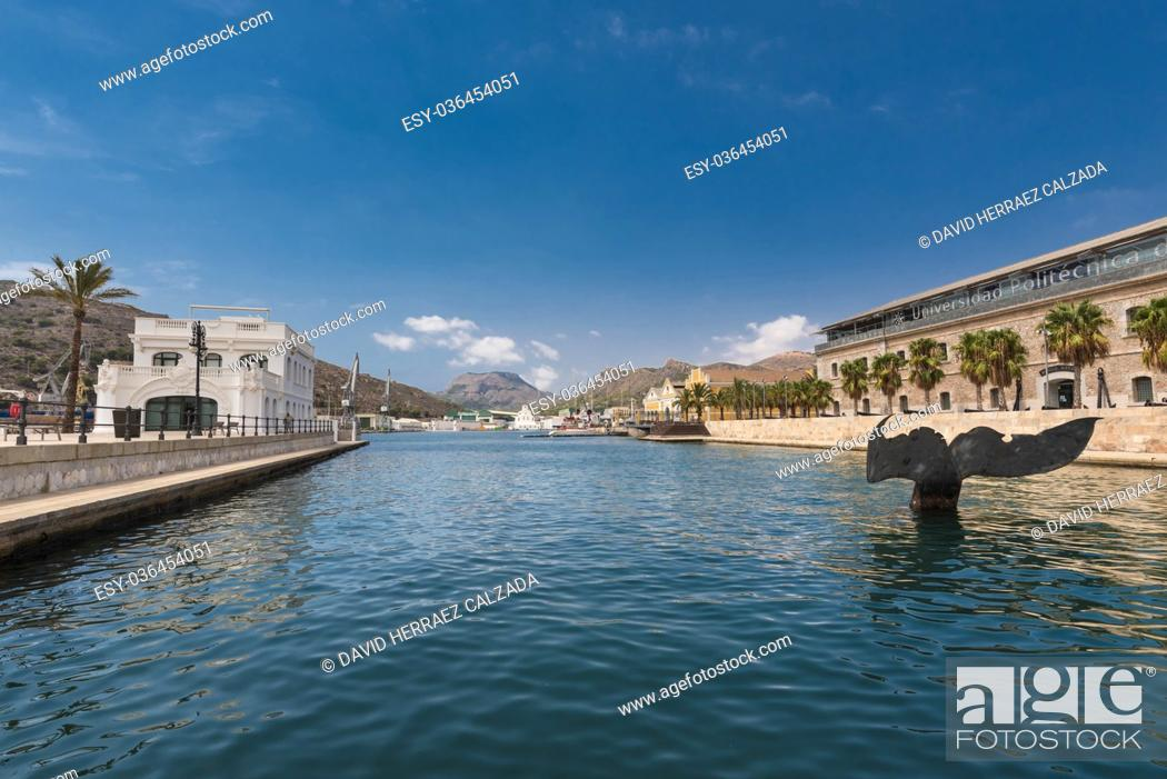 Stock Photo: Port of Cartagena city, naval museum is in the background. Murcia province, Spain.
