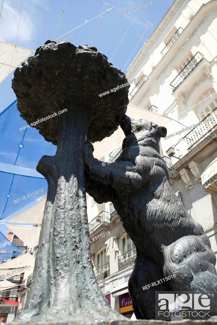 Stock Photo: Bear statue, Puerto de Sol, Madrid, Spain.