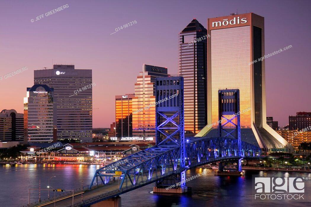 Stock Photo: Florida, Jacksonville, Saint St  Johns River, John Alsop Bridge, Main Street Bridge, downtown, Jacksonville Landing, city skyline, Modis Building, skyscraper.