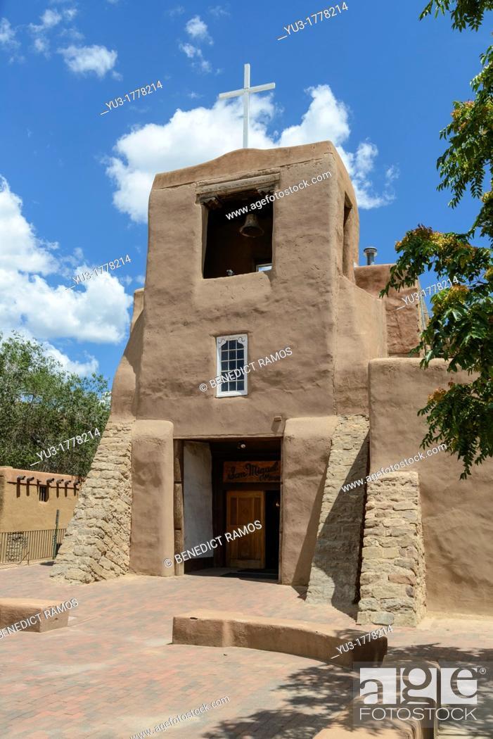 Stock Photo: San Miguel Mission Church, Santa Fe, New Mexico, USA.