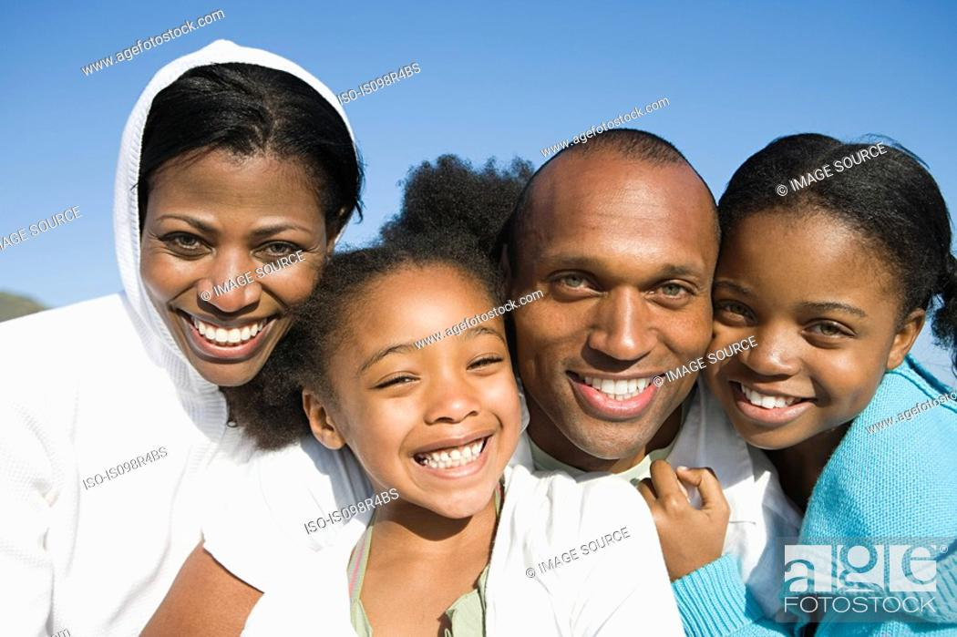 Stock Photo: African american family on vacation.