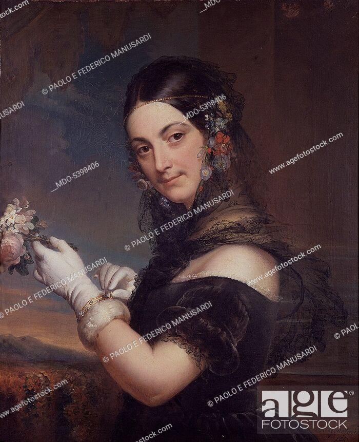 Imagen: Portrait of singer Elena Viganò (Ritratto della cantante Elena Viganò), by Elena Godefroid, 1841, 19th Century, oil on canvas, 77 x 58 cm.