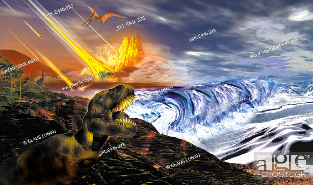 Imagen: Dinosaur extinction. Computer illustration of dinosaurs watching fragments of a large asteroid colliding with Earth. Such an impact is believed to have led to.