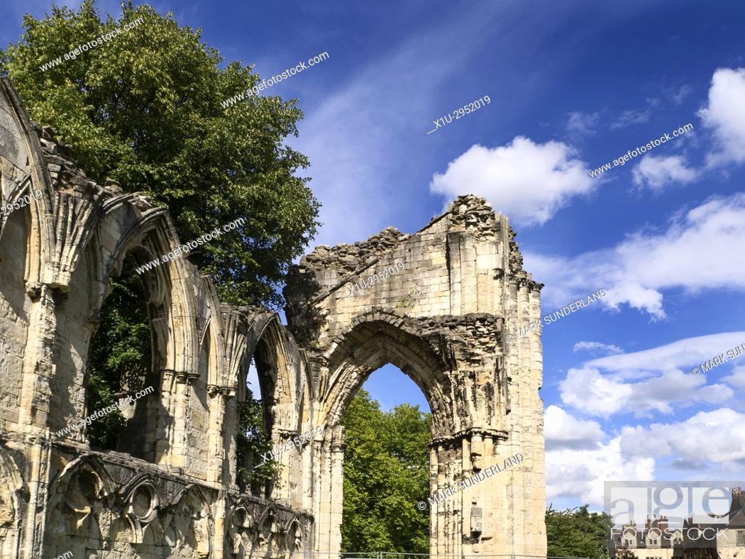Stock Photo: St Marys Abbey Ruins in Museum Gardens York Yorkshire England.