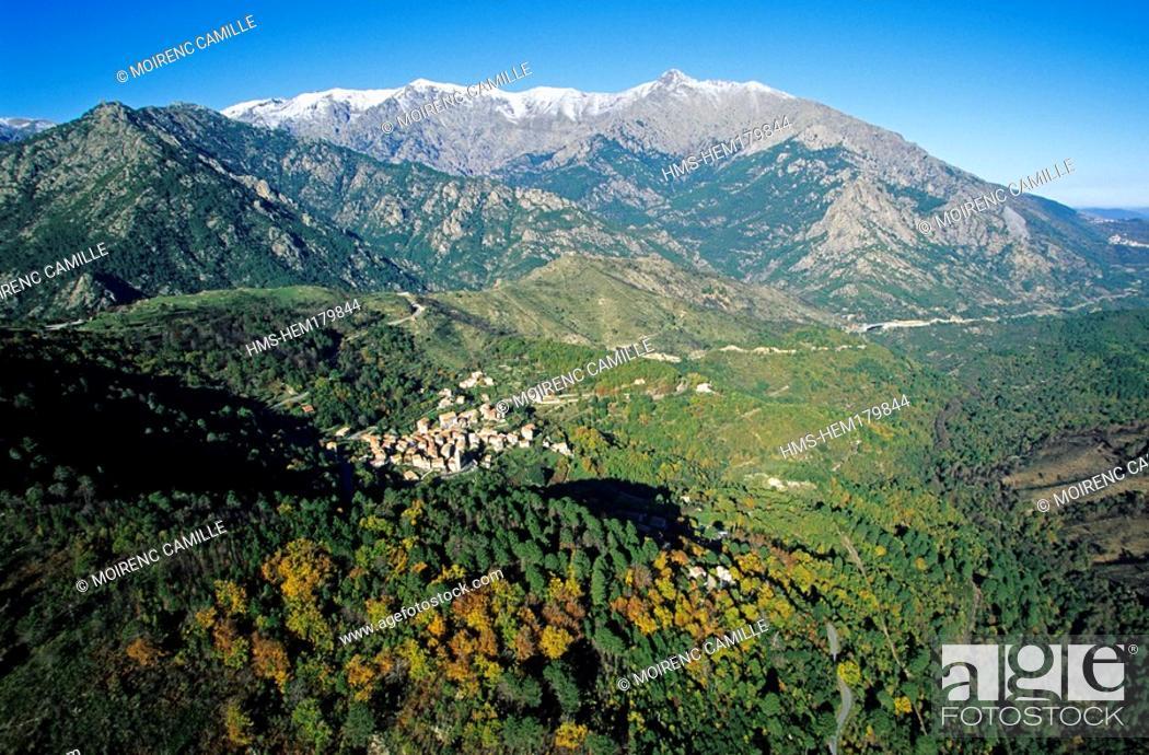 Stock Photo: France, Corse du Sud, Maraciole Village aerial view.