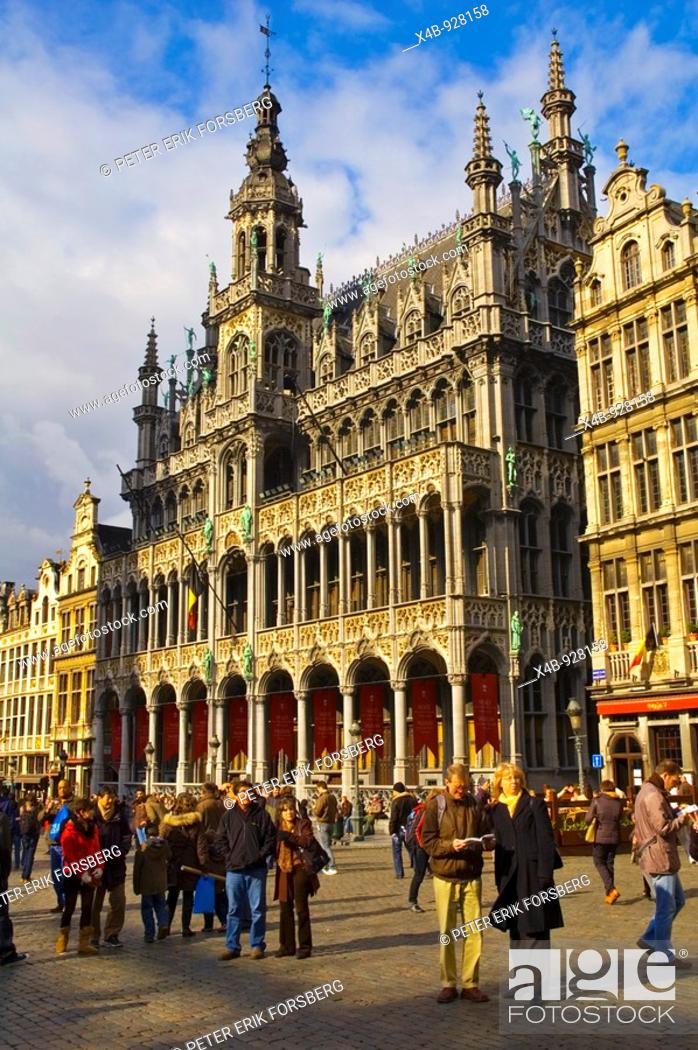 Stock Photo: Tourists at Grote Markt square in Brussels Belgium Europe.