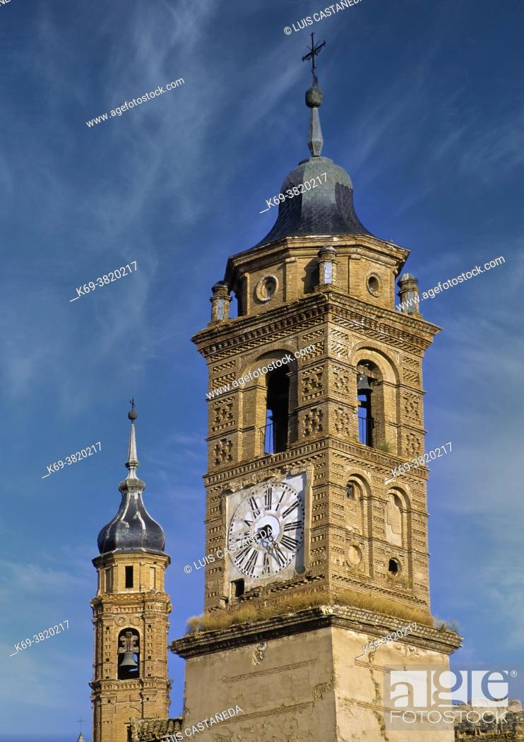 Stock Photo: Mudejar Towers. Ateca (Zaragoza) Spain. . The development in the 12th century of Mudejar art in Aragon resulted from the particular political.