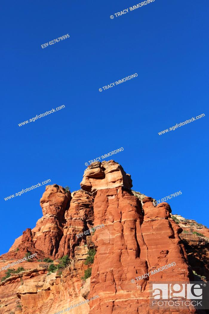 Stock Photo: Close up of the Northern Boyton Canyon Spire on the Vista Trail in Sedona, Arizona, USA.