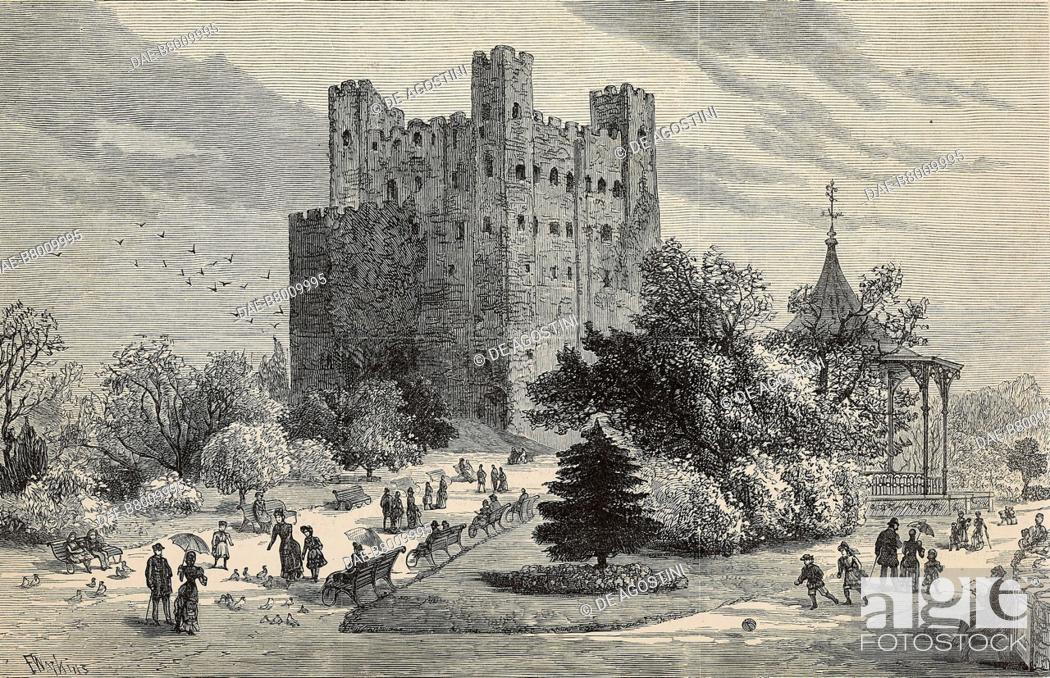Imagen: Rochester Castle and grounds used as a public park, United Kingdom, engraving by F Watkins from The Illustrated London News, No 2324, November 3, 1883.