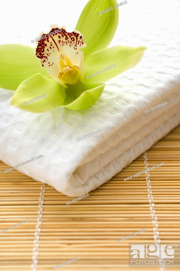 Stock Photo: Orchid flower on towel.