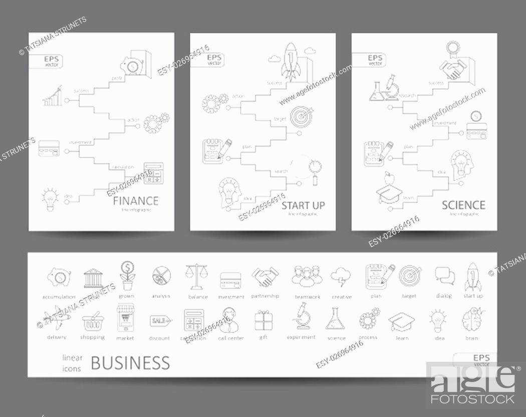 Stock Photo: Modern thin line icons set and infographics of finance, science, start up concept. For web, internet, mobile apps, interface design.