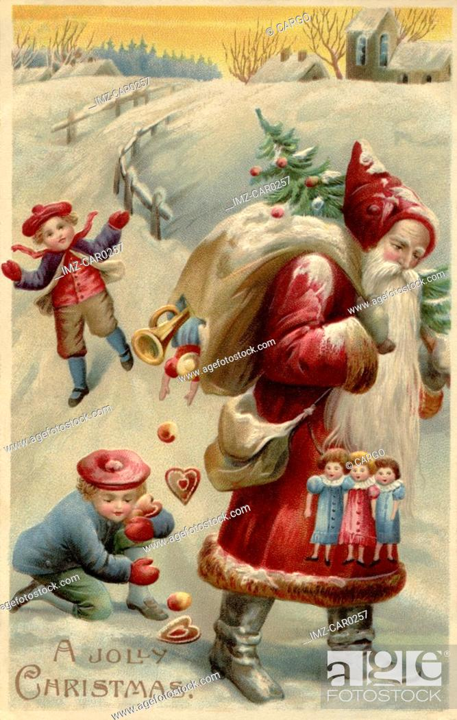 Stock Photo: Vintage Christmas postcard with children picking up presents spilled by Santa Claus from his gift sack.