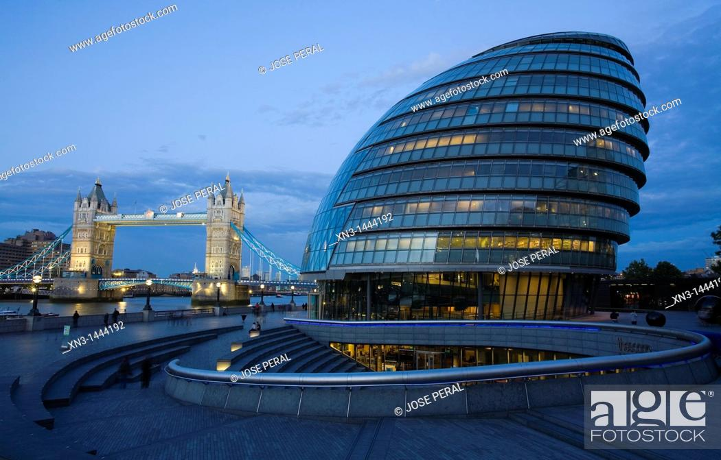 Stock Photo: City Hall, River Thames, Tower Bridge, London, England, United Kingdom, Europe.