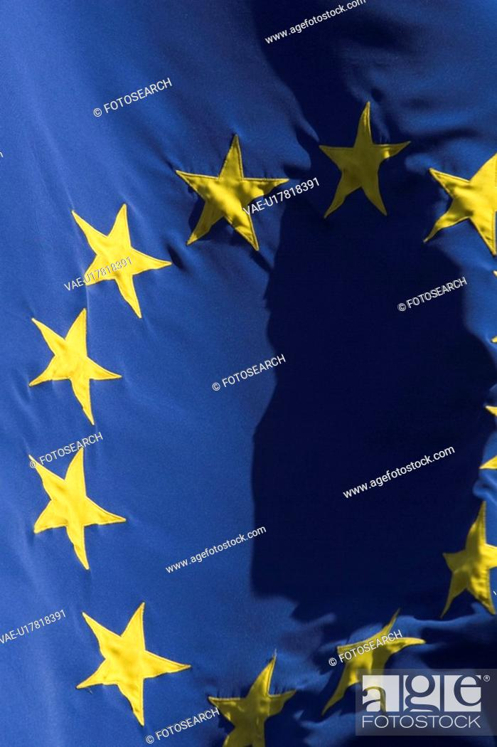 Stock Photo: Blue, Close-Up, Day, European Union Flag, Flag.