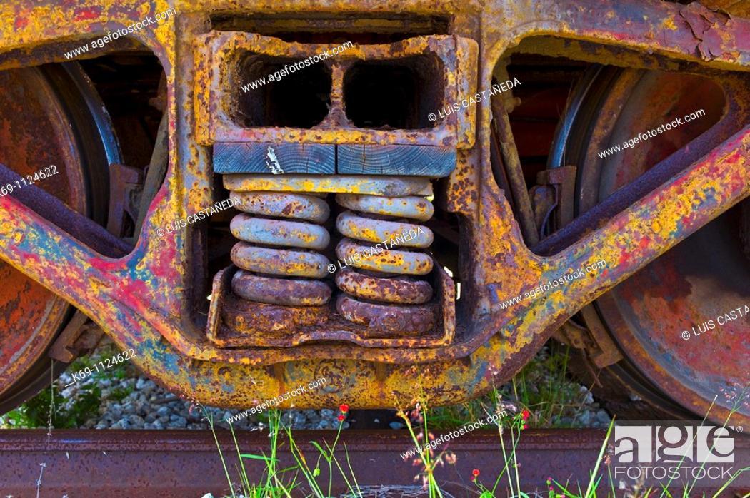 Stock Photo: Old Railroad Wheels  Railroad Museum  Miami  Florida  USA.
