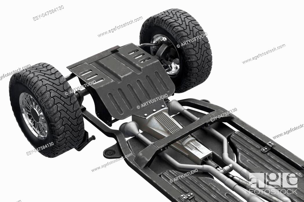 Stock Photo: Chassis frame automobile underbody with wheel, close view. 3D rendering.
