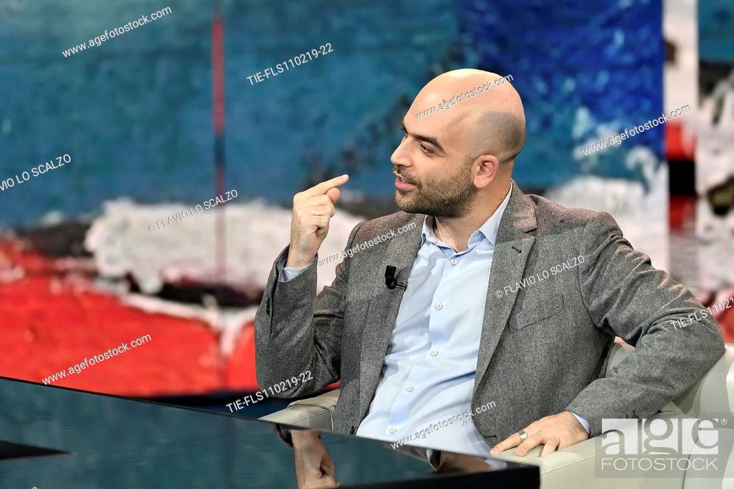 Imagen: Roberto Saviano during the tv show Che tempo che fa, Milan, ITALY-10-02-2019.