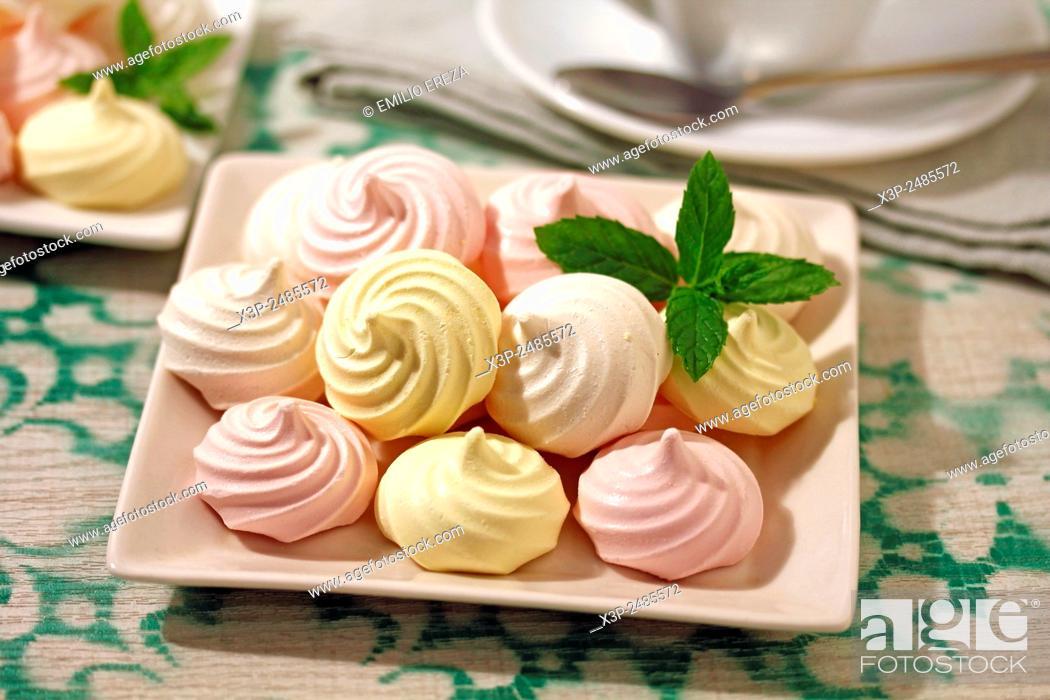 Stock Photo: Meringues three flavours.