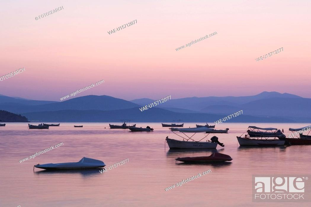 Stock Photo: Boat, Dusk, Generic Location, Mode Of Transport.
