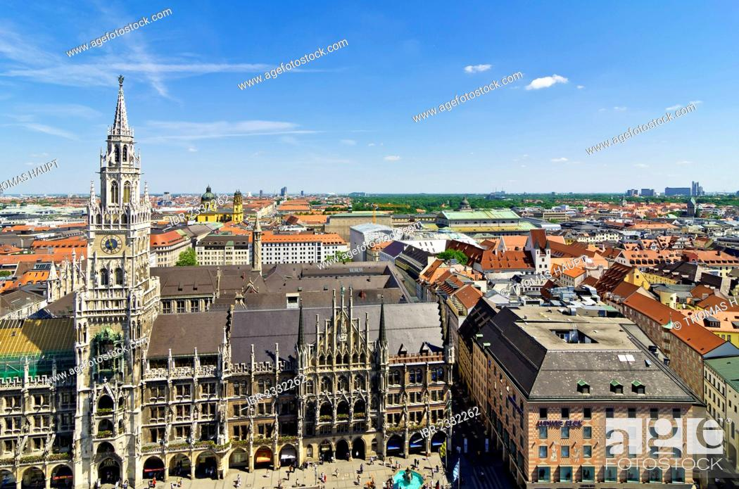 Stock Photo: View from St. Peter's Church, Alter Peter, to Marienplatz square and the New Town Hall, Munich, Upper Bavaria, Bavaria, Germany, Europe.