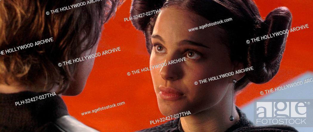 Stock Photo: In the main Senate hallway, obscured by a pillar, Padme Amidala (actress Natalie Portman) shares a tender moment with her secret husband.