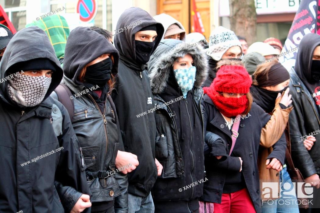 Stock Photo: Demonstration against French government and the expulsion of undocumented, Lyon, Rhône, Rhône-Alpes, France.