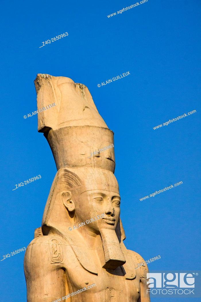 Stock Photo: Egypt, Cairo, Heliopolis, on Orouba street stands a copy of a Ramses II colossus. The original was moved to Ramses square and later near the Grand Egyptian.
