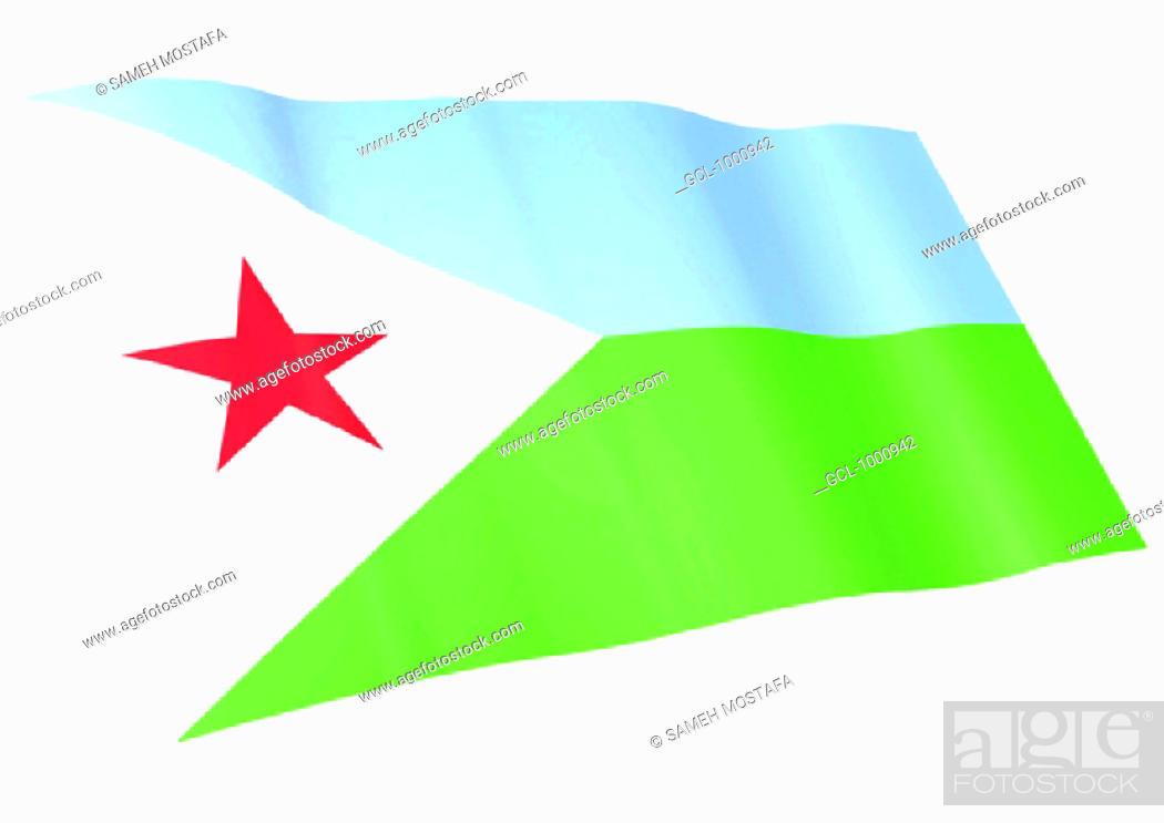 Stock Photo: flag of Djibouti.