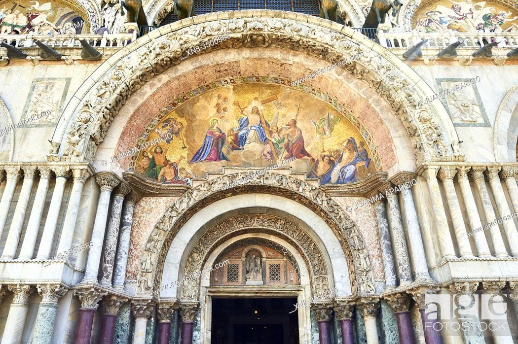 Stock Photo: Detail of the Main Entry of the Basilica San Marco, Piazza San Marco, Venice, Italy, Europe.