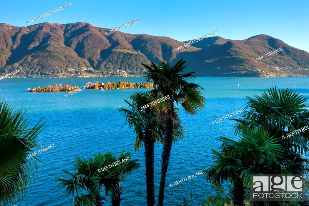 Stock Photo: View from Ronco in the canton of Ticino to Lago Maggiore lake.