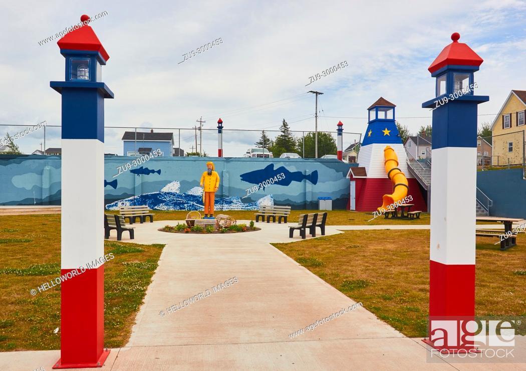 Stock Photo: Fish themed playground, Cheticamp, Cape Breton Island, Nova Scotia, Canada. . Cheticamp is a small fishing community on the west coast of Cape Breton Island.