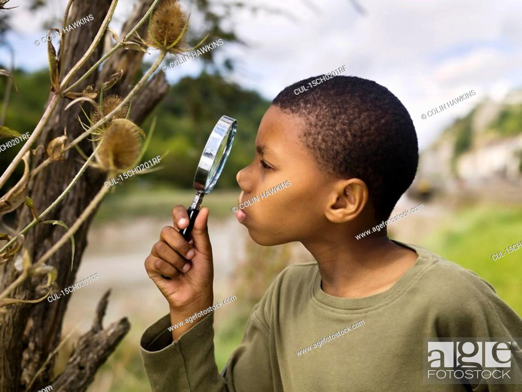 Stock Photo: boy investigating nature.
