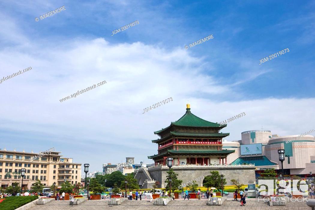 Stock Photo: Asia, China, Shanxi, Xi'an, Bell Tower.