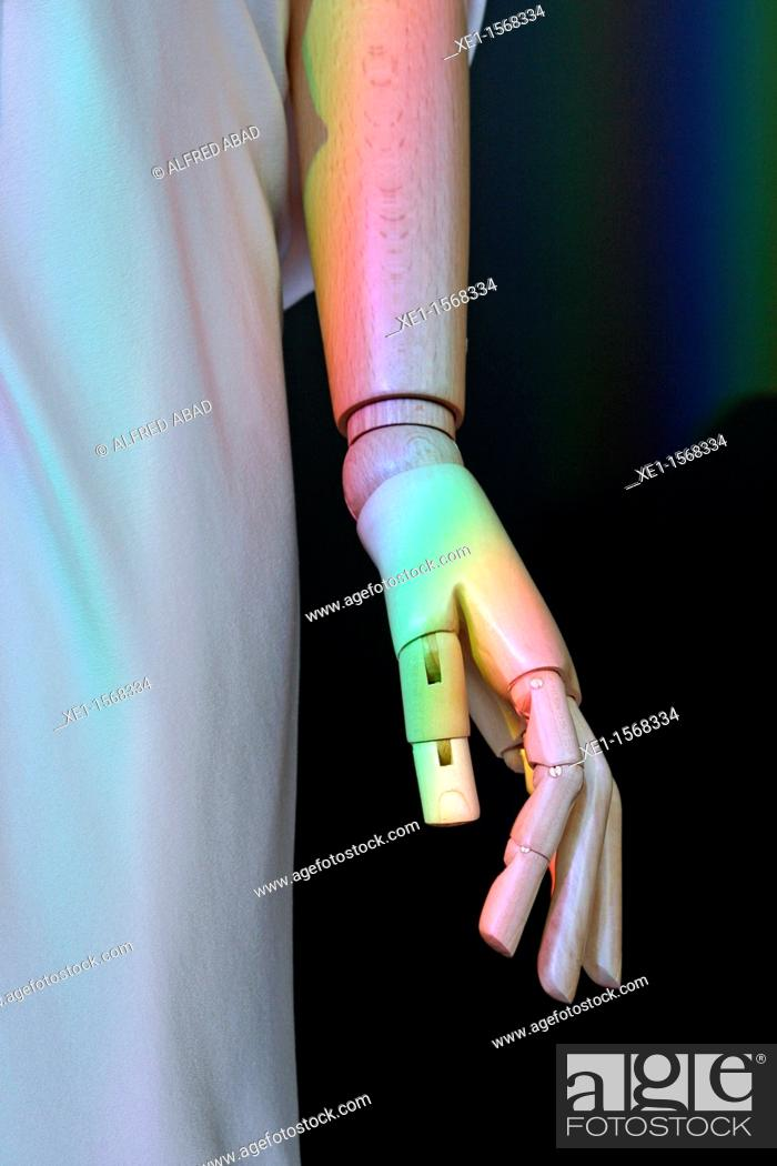 Stock Photo: Wooden hand of a mannequin.