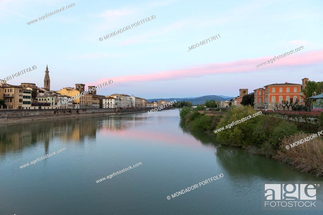Stock Photo: The Arno river taken from the Ponte delle Grazie. Florence (Italy), April 16th, 2014.