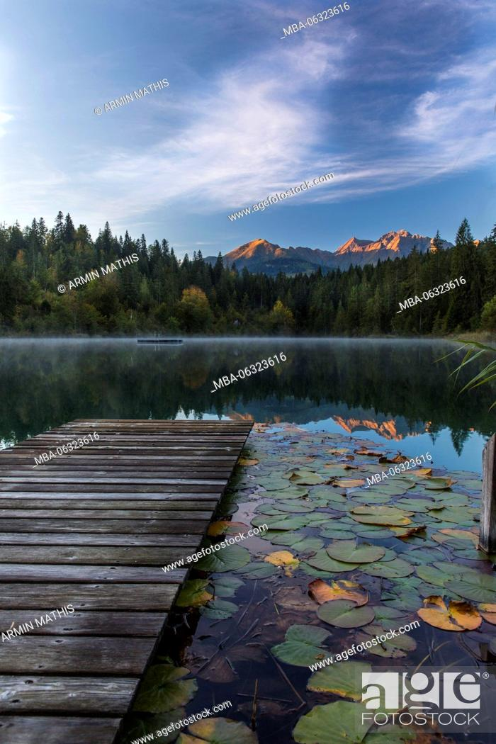 Stock Photo: Daybreak in the Crestasee at Films, Switzerland.