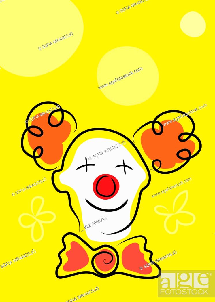 Stock Photo: Happy clown with white face mask and red nose on yellow background.