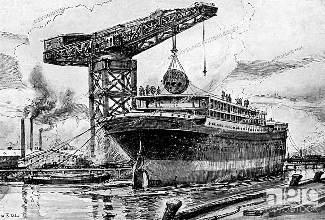 The boilers are craned into a steamship : this is done after ...