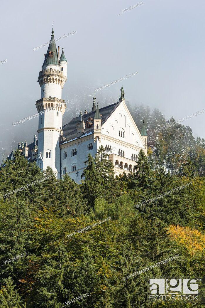 Stock Photo: Famous Neuschwanstein Castle (New Swanstone Castle), Hohenschwangau, Bavaria, Germany, Europe.