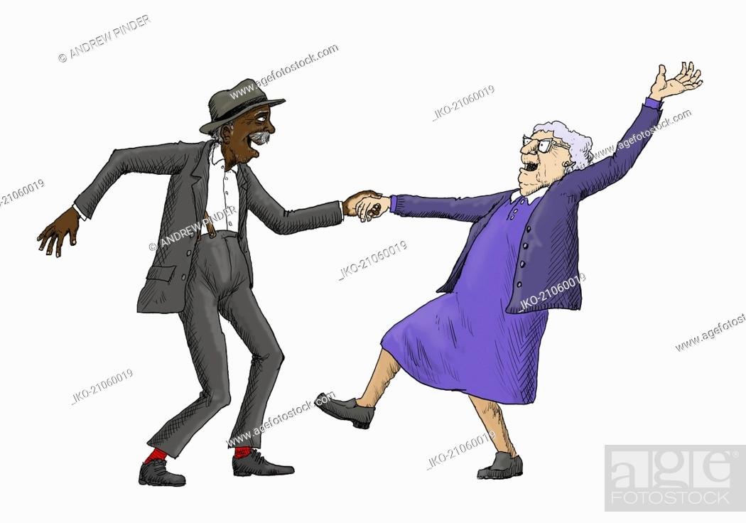 Elderly Couple Having Fun Jive Dancing Stock Photo Picture And