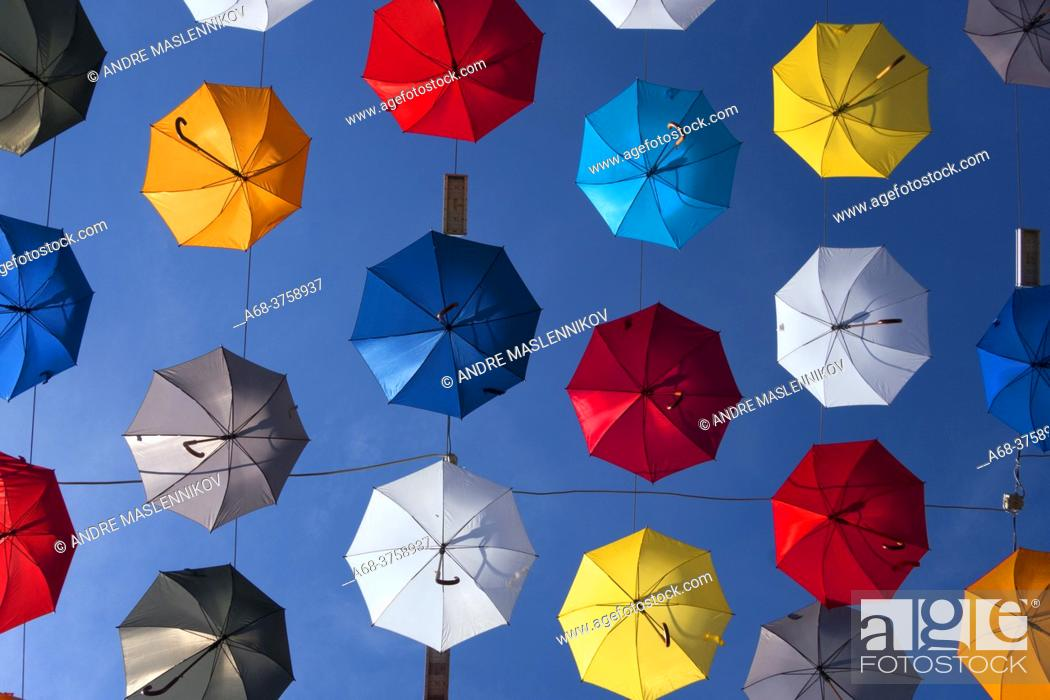 Stock Photo: Umbrellas over a pedestrian street in the old town of Antalya, Turkey.